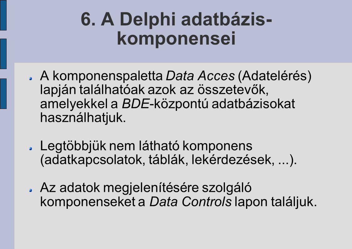 6. A Delphi adatbázis- komponensei A komponenspaletta Data Acces (Adatelérés) lapján találhatóak azok az összetevők, amelyekkel a BDE-központú adatbáz
