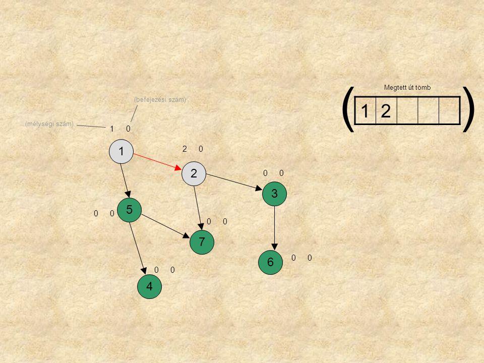 1257364 10 24 66 32 75 53 41 1 Megtett út tömb () (mélységi szám) (befejezési szám)