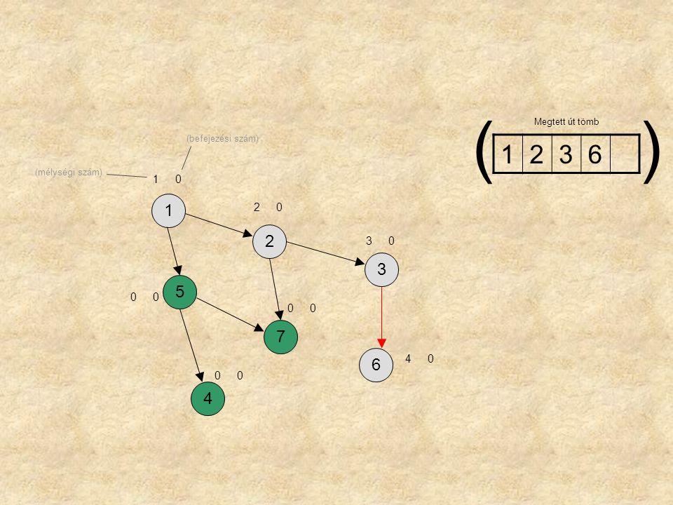 1257364 10 20 00 30 00 00 41 1236 Megtett út tömb () (mélységi szám) (befejezési szám)