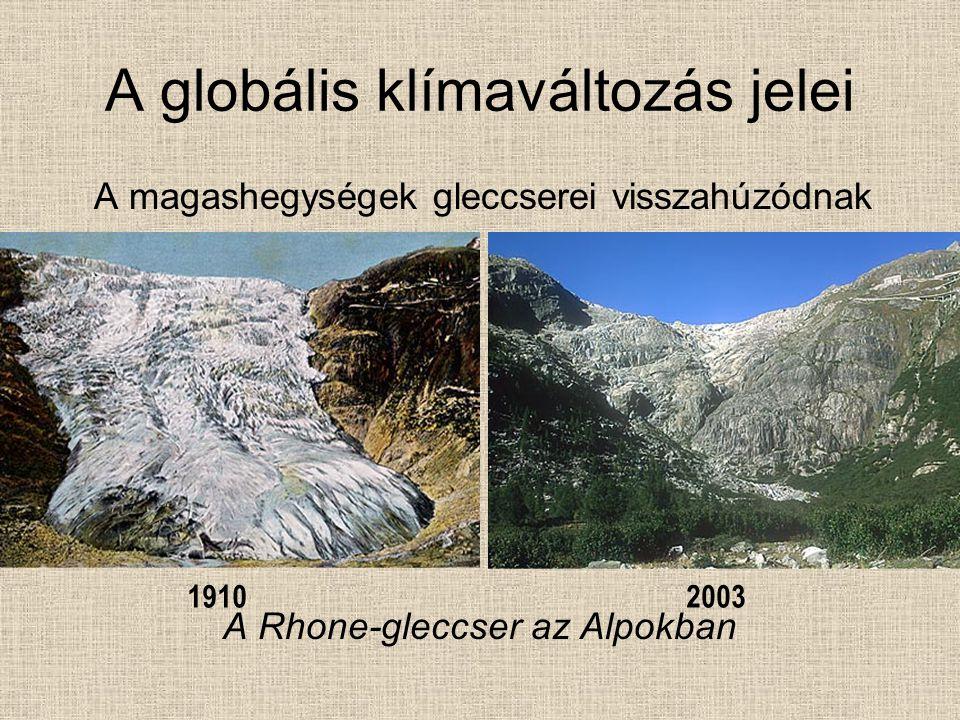 A globális klímaváltozás jelei A magashegységek gleccserei visszahúzódnak A Rhone-gleccser az Alpokban 19102003