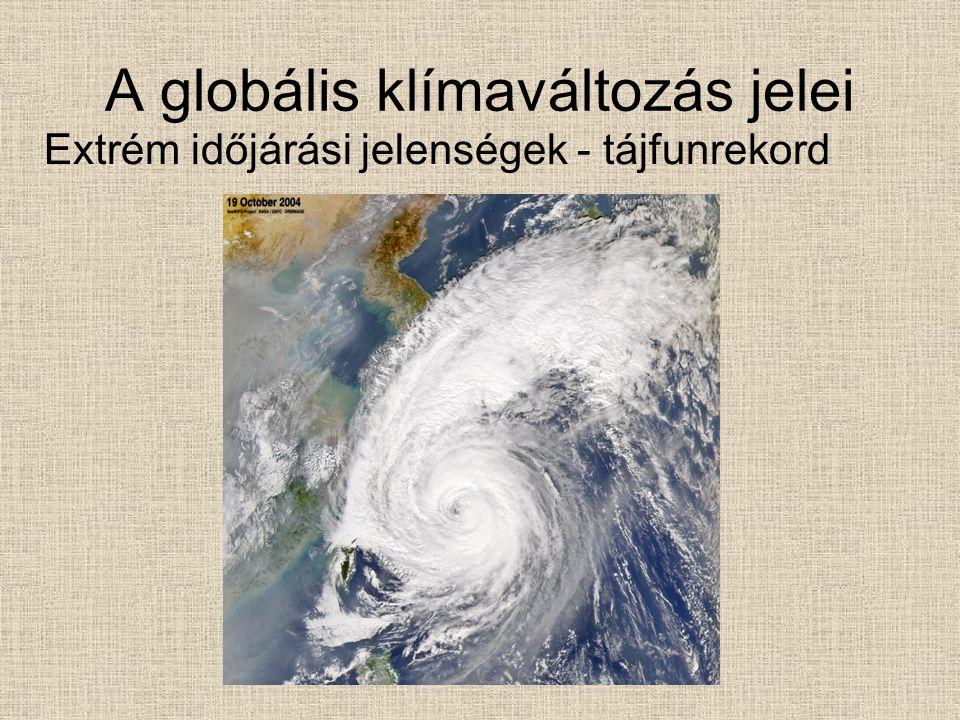 A globális klímaváltozás jelei Extrém időjárási jelenségek - tájfunrekord