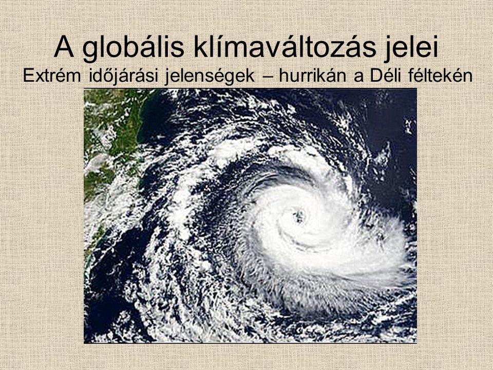 A globális klímaváltozás jelei Extrém időjárási jelenségek – hurrikán a Déli féltekén