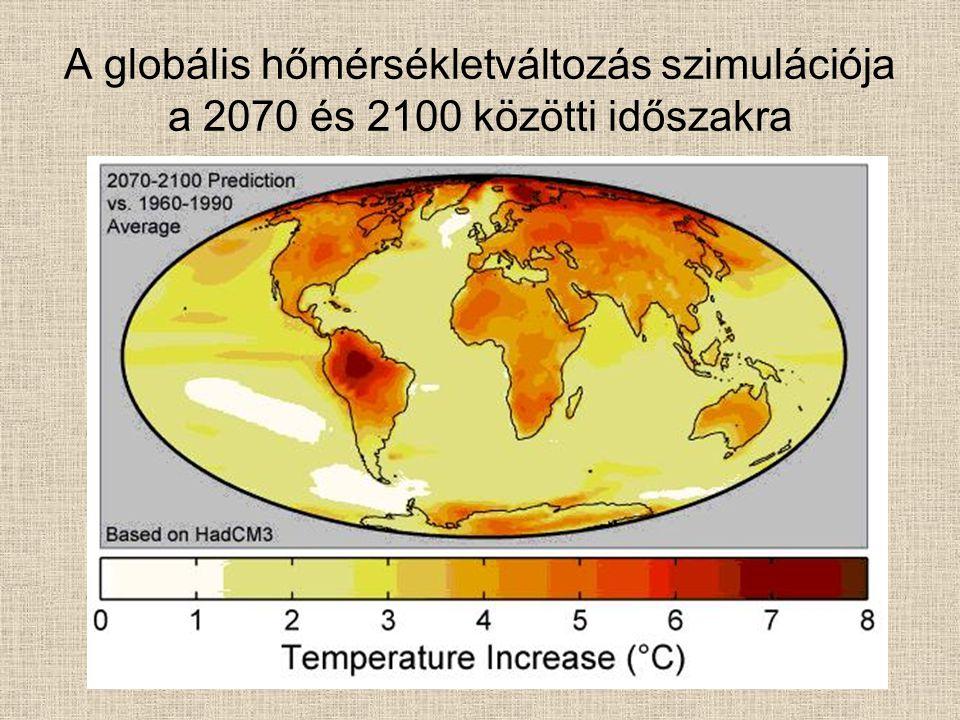 A globális hőmérsékletváltozás szimulációja a 2070 és 2100 közötti időszakra