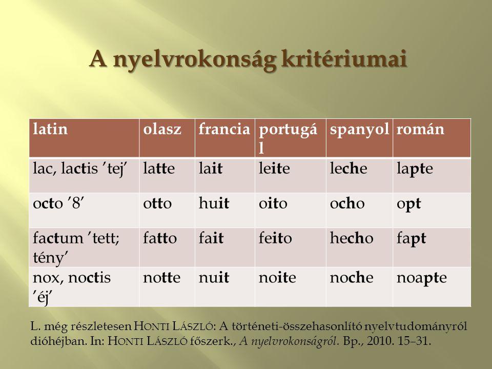 A nyelvrokonság kritériumai latinolaszfranciaportugá l spanyolromán lac, la ct is 'tej'la tt ela it le it ele ch ela pt e o ct o '8'o tt ohu it o it o