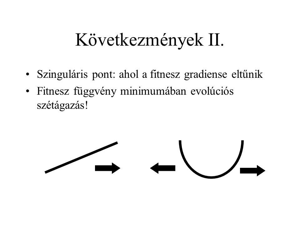 Következmények II. Szinguláris pont: ahol a fitnesz gradiense eltűnik Fitnesz függvény minimumában evolúciós szétágazás!