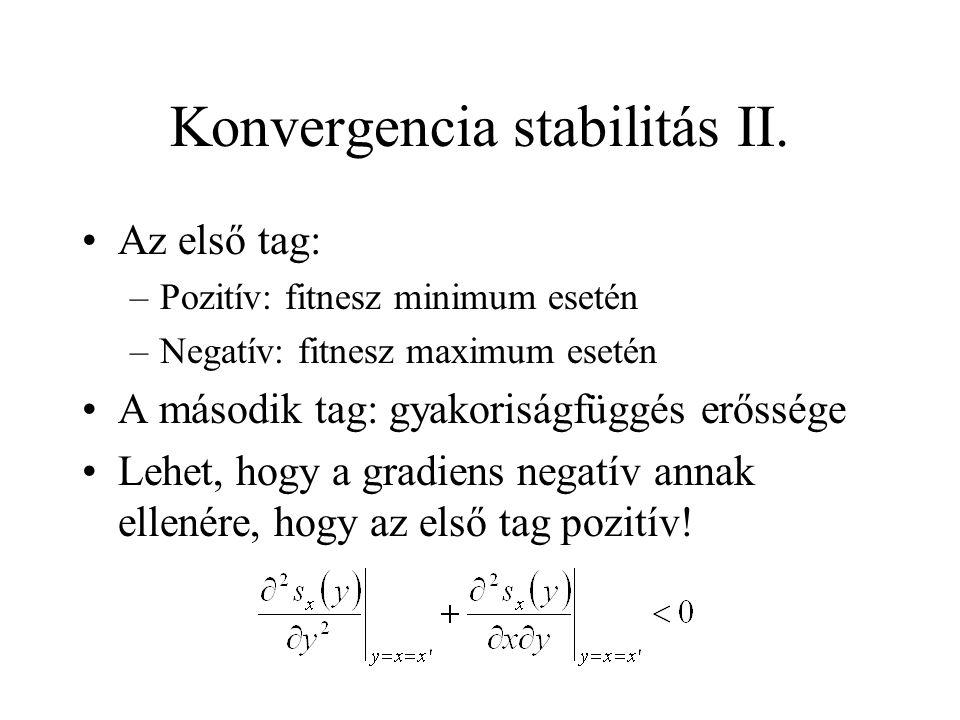 Konvergencia stabilitás II. Az első tag: –Pozitív: fitnesz minimum esetén –Negatív: fitnesz maximum esetén A második tag: gyakoriságfüggés erőssége Le