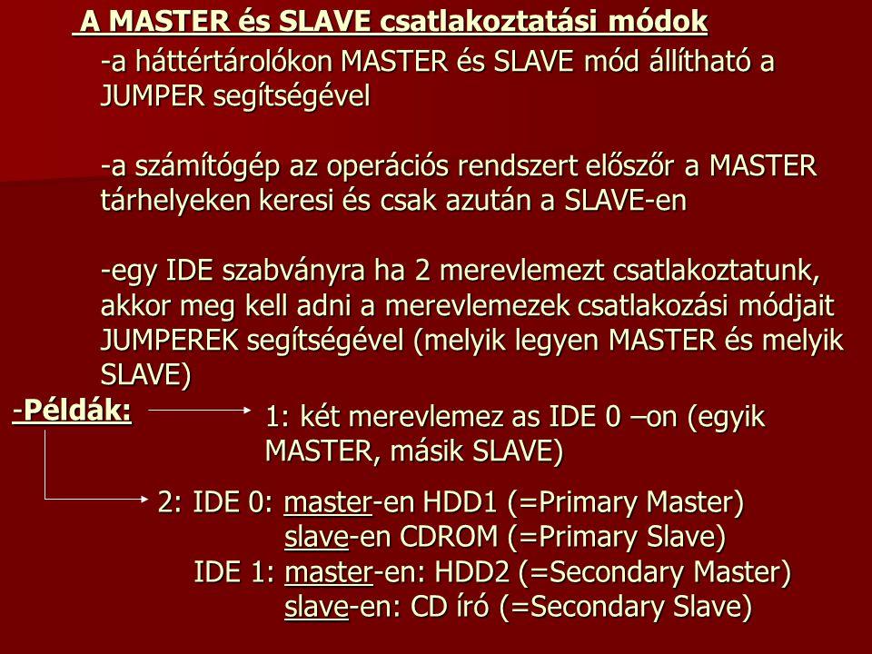 A MASTER és SLAVE csatlakoztatási módok -a háttértárolókon MASTER és SLAVE mód állítható a JUMPER segítségével -a számítógép az operációs rendszert el