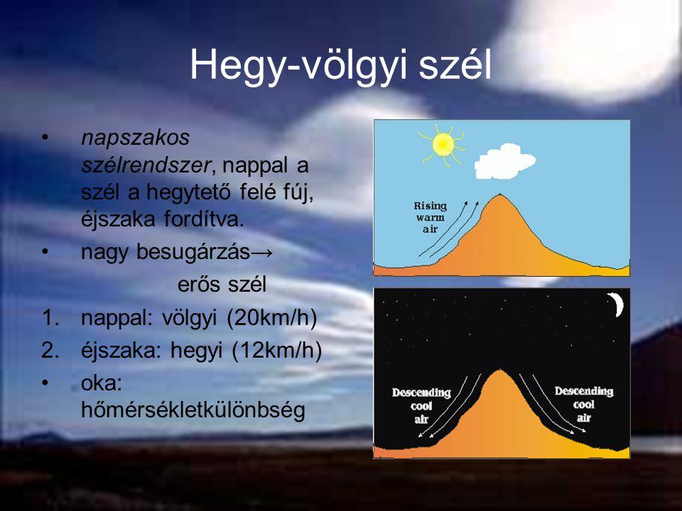 Hegy-völgyi szél napszakos szélrendszer, nappal a szél a hegytető felé fúj, éjszaka fordítva. nagy besugárzás→ erős szél 1.nappal: völgyi (20km/h) 2.é