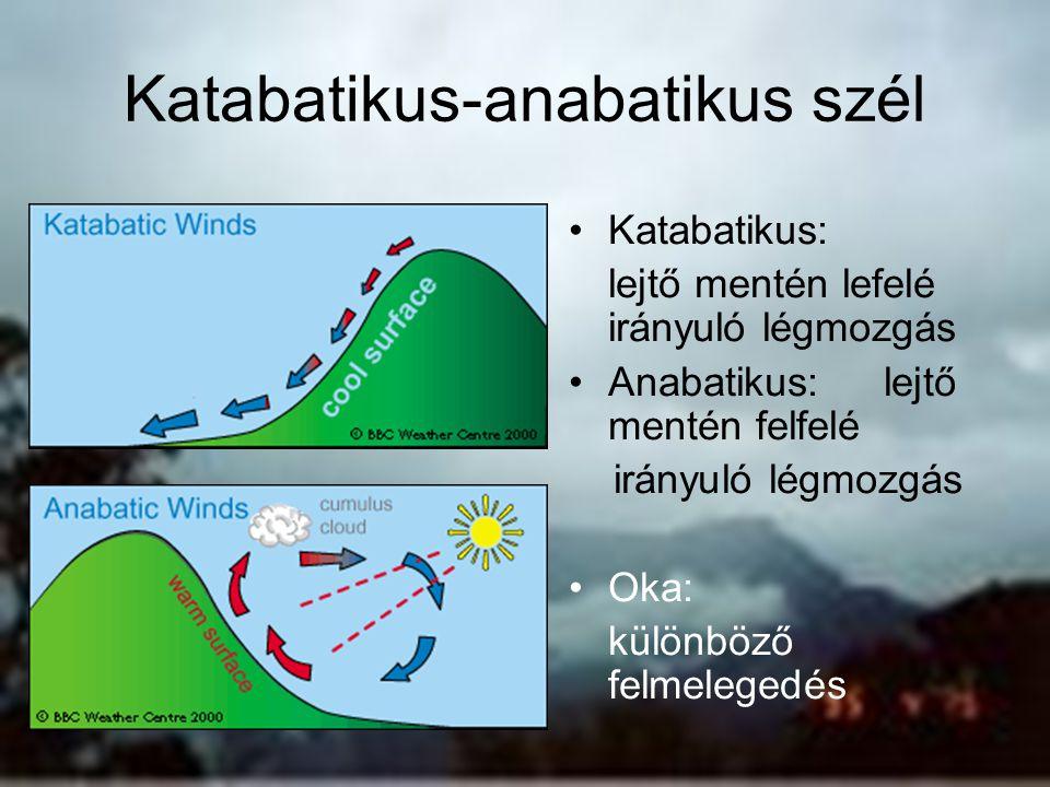 Katabatikus-anabatikus szél Katabatikus: lejtő mentén lefelé irányuló légmozgás Anabatikus: lejtő mentén felfelé irányuló légmozgás Oka: különböző fel
