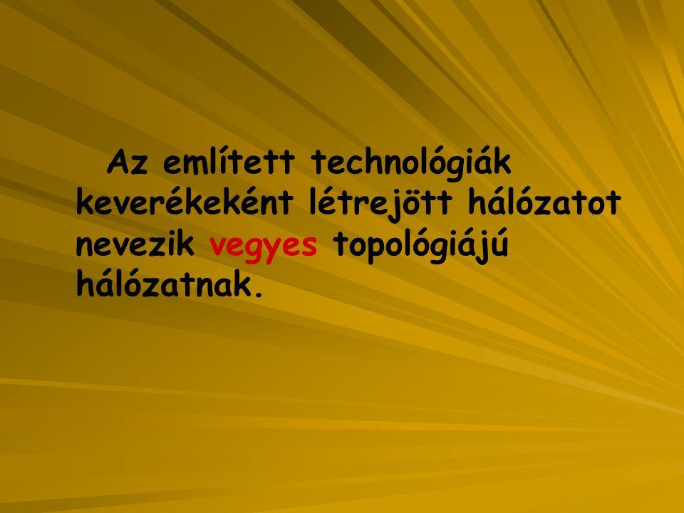 Az említett technológiák keverékeként létrejött hálózatot nevezik vegyes topológiájú hálózatnak.