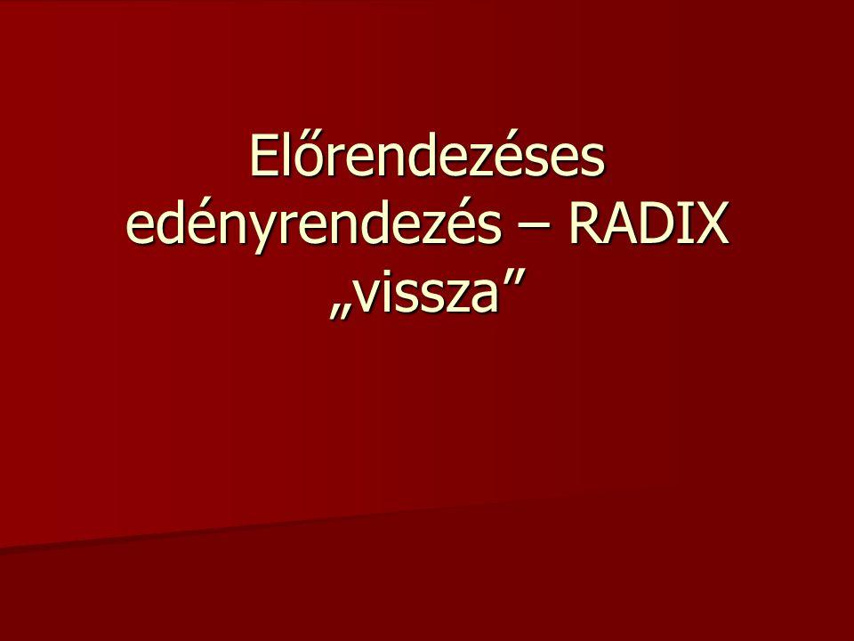 Az általános előrendezéses edényrendezés speciálisan r alapú d jegyű számokra felírt változata a RAD .