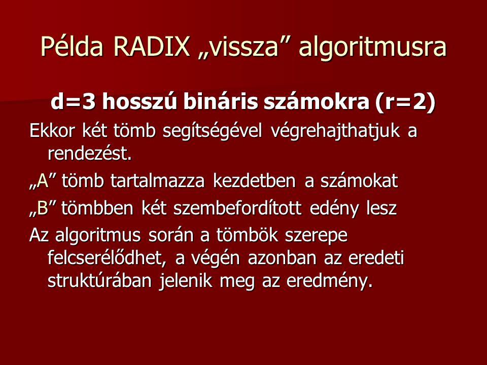 """Példa RADIX """"vissza"""" algoritmusra d=3 hosszú bináris számokra (r=2) Ekkor két tömb segítségével végrehajthatjuk a rendezést. """"A"""" tömb tartalmazza kezd"""