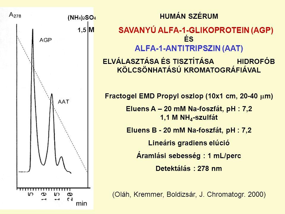 HUMÁN SZÉRUM SAVANYÚ ALFA-1-GLIKOPROTEIN (AGP) ÉS ALFA-1-ANTITRIPSZIN (AAT) ELVÁLASZTÁSA ÉS TISZTÍTÁSA HIDROFÓB KÖLCSÖNHATÁSÚ KROMATOGRÁFIÁVAL Fractog