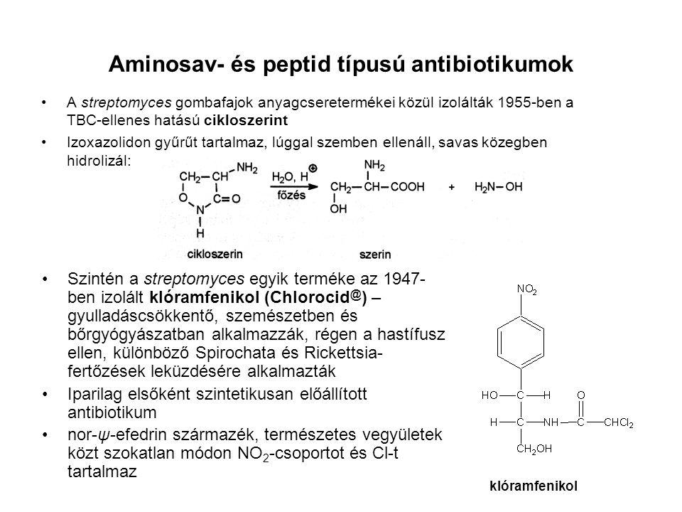 Aminosav- és peptid típusú antibiotikumok A streptomyces gombafajok anyagcseretermékei közül izolálták 1955-ben a TBC-ellenes hatású cikloszerint Izox