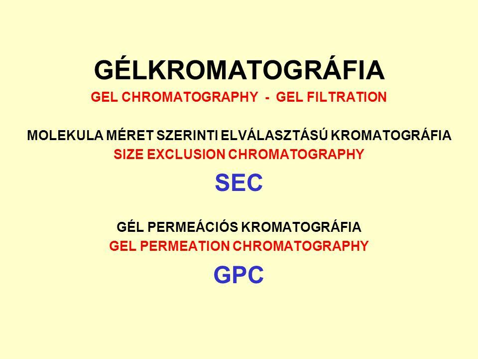 """TÖRTÉNETI ÁTTEKINTÉS McBain (1929) Molecular Sieving - Molekula sziták, zeolitok – permutitok Deuel és Neukom (1954) Desalting - Poliszacharid gélek, sómentesítés Porath és Flodin (1954) Gel Filtration - GÉLSZŰRÉS Uppsala – Pharmacia Fine Chemicals, Sephadex – Sepharose gélek Gelotte (1960), Pedersen (1962), Flodin és Porath (1961-63) Size Exclusion Chromatography (SEC) Méret szerinti kizáródásos kromatográfia Szterikus-volumetrikus térfogati megoszlási modell Steere és Ackers (1962) Restricted Diffusion Chromatography Hjerten és Mosbach (1962) Molecular Sieve Chromatography A molekula """"szitálás matematikai modellje Moore (1964) Gel Permeatíon Chromatography (GPC) Casassa (1967), Ogston (1968-70) Termodinamikai értelmezés Ozmotikus nyomás – entrópia változás alapján Determann (1964) Gel Chromatography - GÉLKROMATOGRÁFIA"""