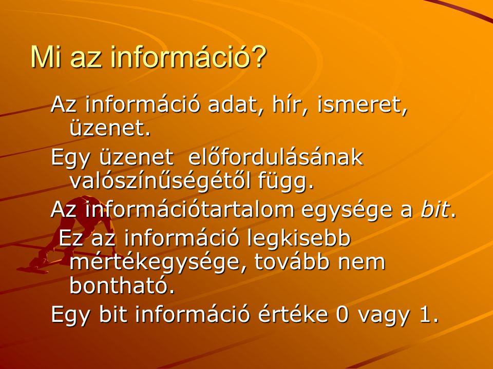 Mi az információ? Az információ adat, hír, ismeret, üzenet. Egy üzenet előfordulásának valószínűségétől függ. Az információtartalom egysége a bit. Ez