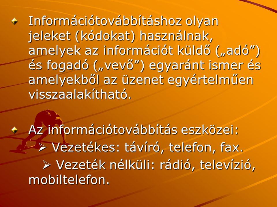 """Információtovábbításhoz olyan jeleket (kódokat) használnak, amelyek az információt küldő (""""adó"""") és fogadó (""""vevő"""") egyaránt ismer és amelyekből az üz"""