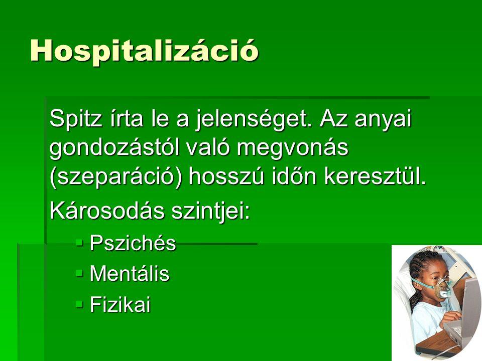 Hospitalizáció Spitz írta le a jelenséget.