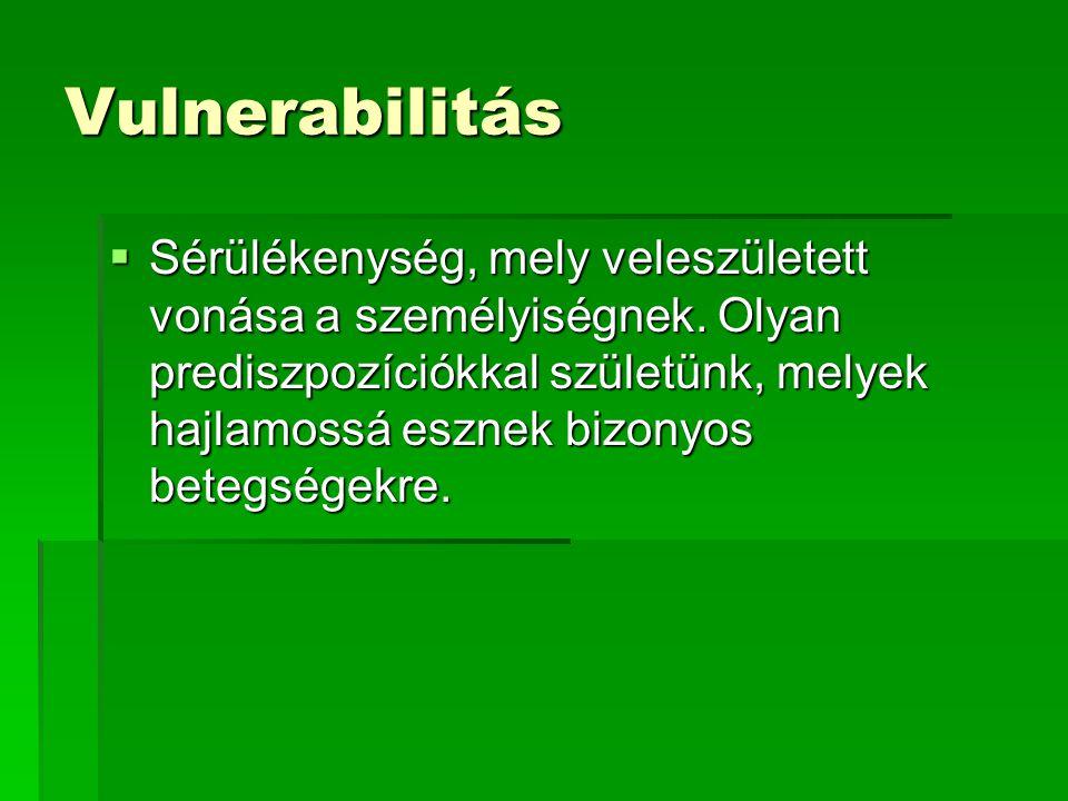 Vulnerabilitás  Sérülékenység, mely veleszületett vonása a személyiségnek.
