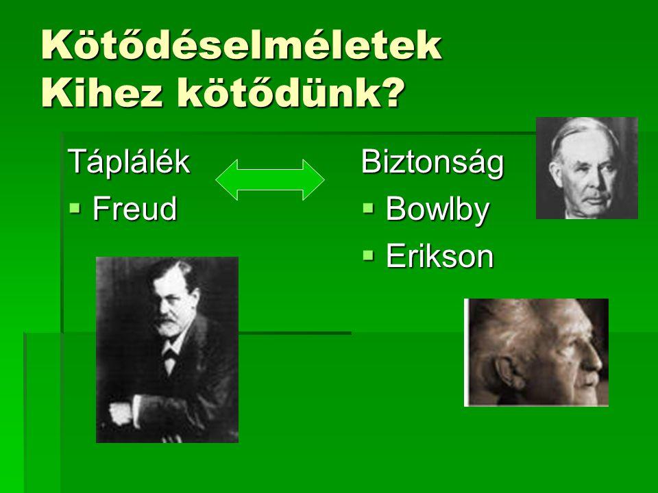 Kötődéselméletek Kihez kötődünk? Táplálék  Freud Biztonság  Bowlby  Erikson