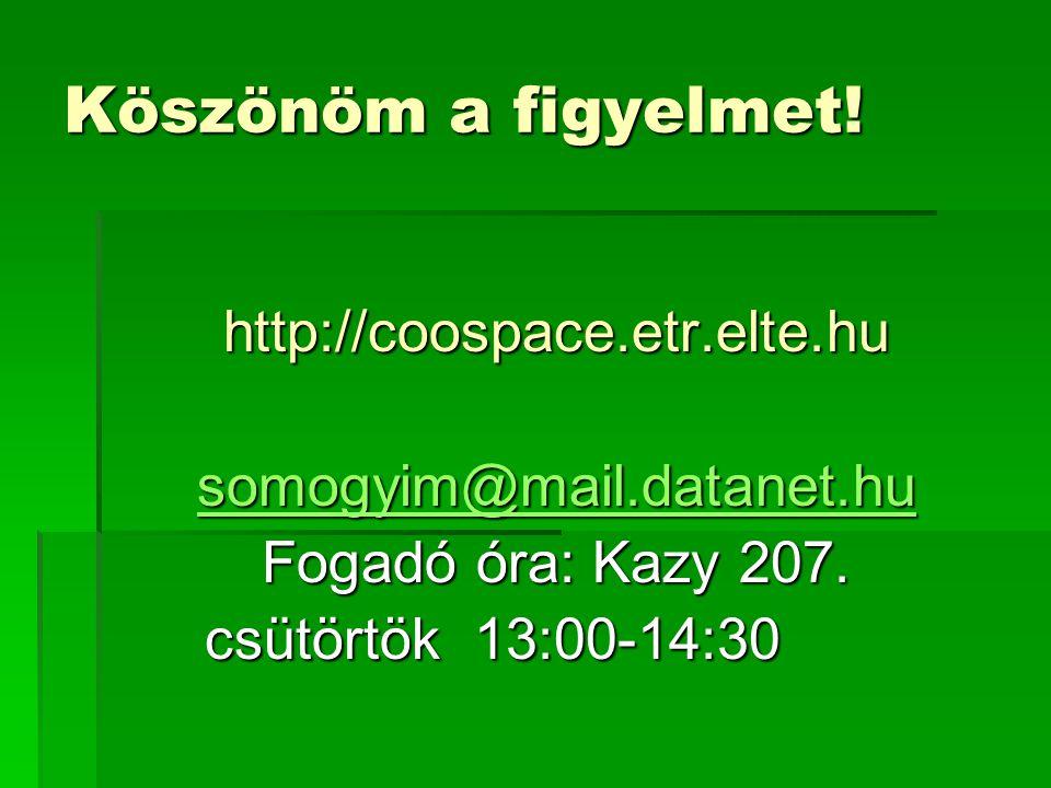 Köszönöm a figyelmet.http://coospace.etr.elte.hu somogyim@mail.datanet.hu Fogadó óra: Kazy 207.