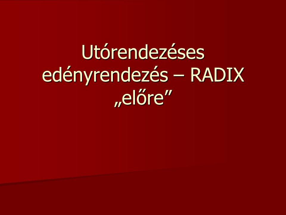 Az általános utórendezéses edényrendezés speciálisan r alapú d jegyű számokra felírt változata a RAD .