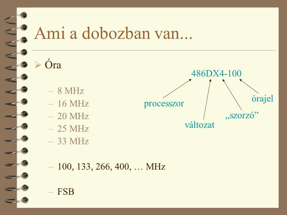 """Ami a dobozban van...  Óra –8 MHz –16 MHz –20 MHz –25 MHz –33 MHz –100, 133, 266, 400, … MHz –FSB 486DX4-100 processzor változat órajel """"szorzó"""""""