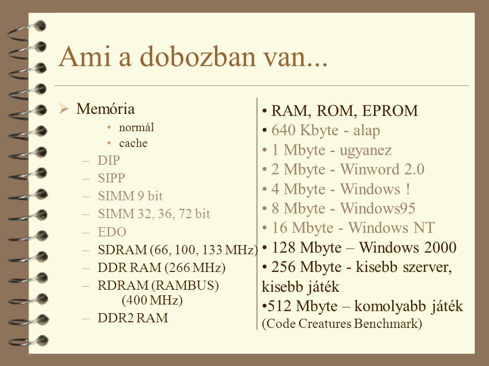 Ami a dobozban van...  Memória normál cache –DIP –SIPP –SIMM 9 bit –SIMM 32, 36, 72 bit –EDO –SDRAM (66, 100, 133 MHz) –DDR RAM (266 MHz) –RDRAM (RAM