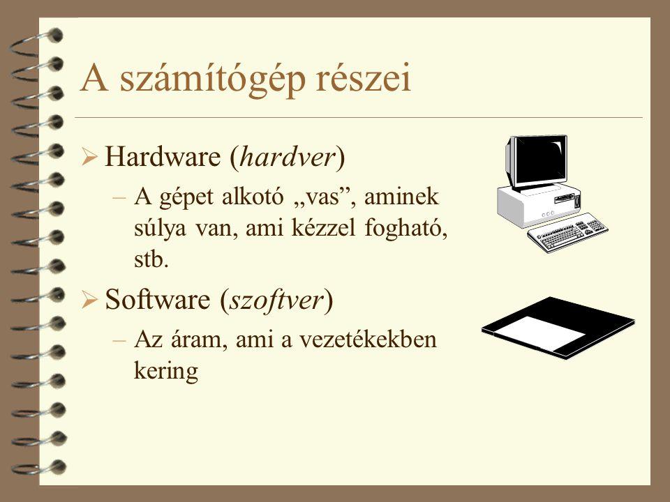 """A számítógép részei  Hardware (hardver) –A gépet alkotó """"vas"""", aminek súlya van, ami kézzel fogható, stb.  Software (szoftver) –Az áram, ami a vezet"""