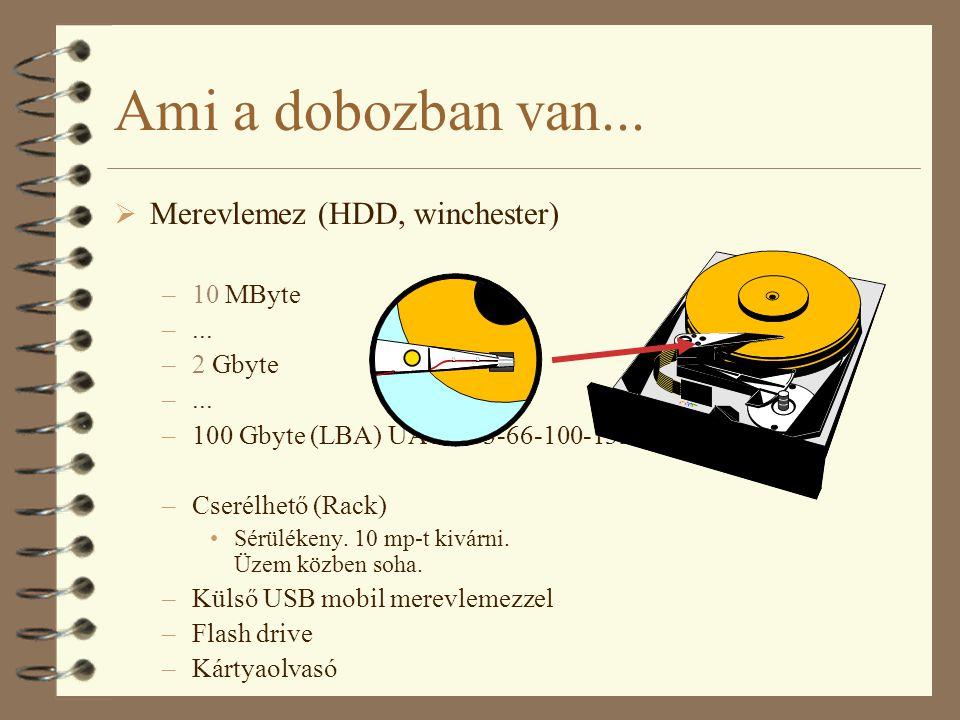 Ami a dobozban van...  Merevlemez (HDD, winchester) –10 MByte –... –2 Gbyte –... –100 Gbyte (LBA) UATA 33-66-100-133 –Cserélhető (Rack) Sérülékeny. 1