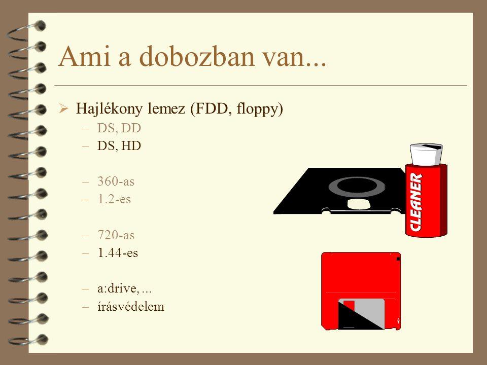 Ami a dobozban van...  Hajlékony lemez (FDD, floppy) –DS, DD –DS, HD –360-as –1.2-es –720-as –1.44-es –a:drive,... –írásvédelem