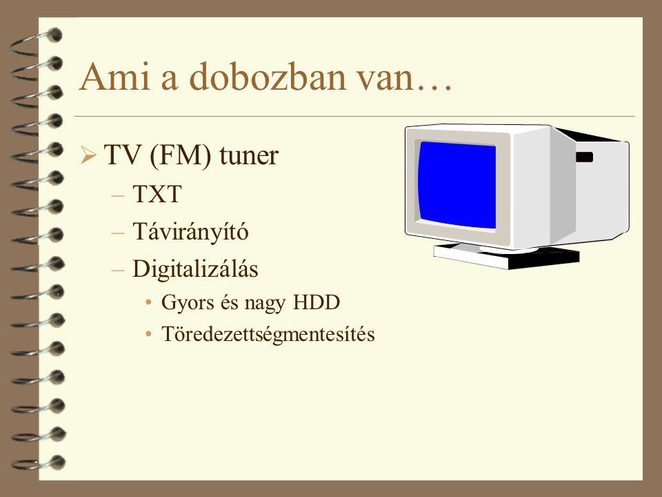 Ami a dobozban van…  TV (FM) tuner –TXT –Távirányító –Digitalizálás Gyors és nagy HDD Töredezettségmentesítés