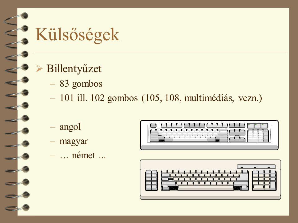 Külsőségek  Billentyűzet –83 gombos –101 ill. 102 gombos (105, 108, multimédiás, vezn.) –angol –magyar –… német...