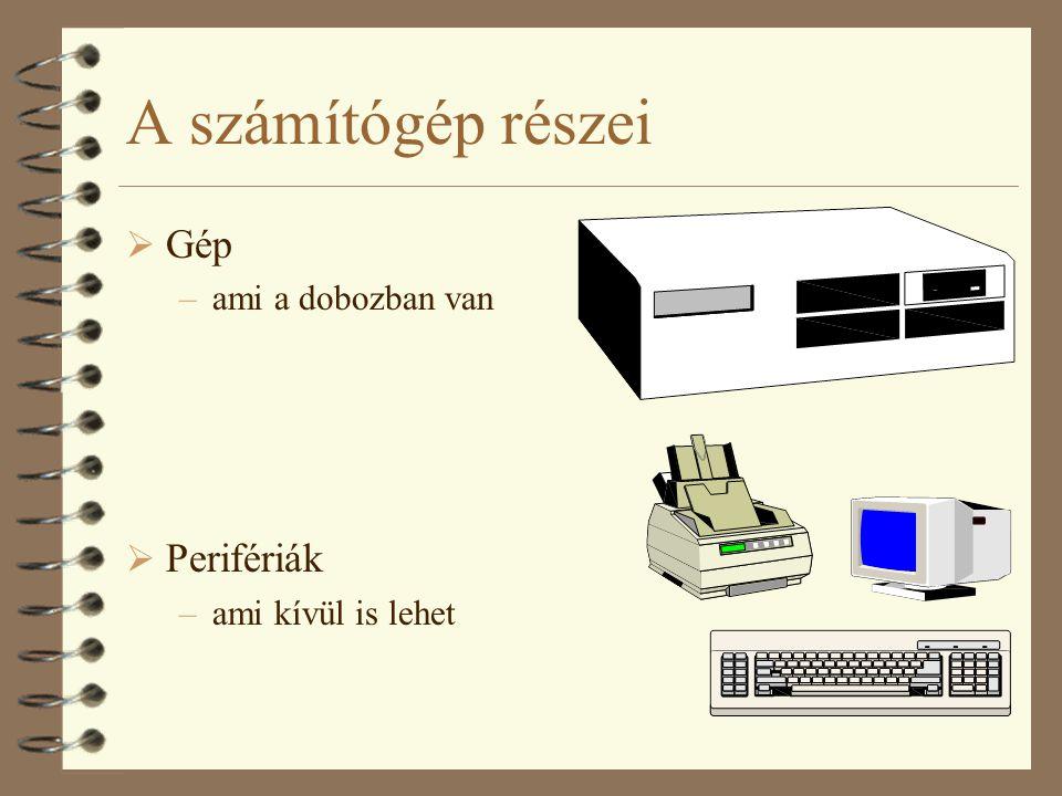 A számítógép részei  Gép –ami a dobozban van  Perifériák –ami kívül is lehet