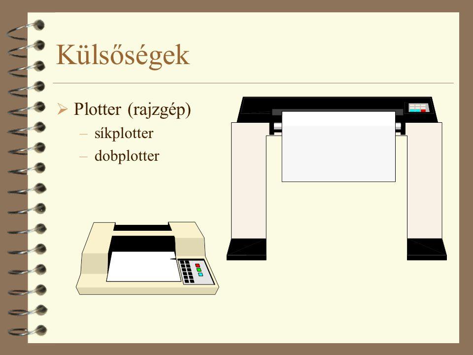 Külsőségek  Plotter (rajzgép) –síkplotter –dobplotter