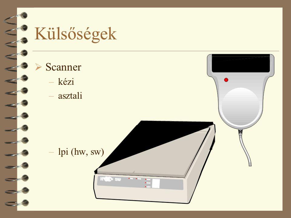 Külsőségek  Scanner –kézi –asztali –lpi (hw, sw)