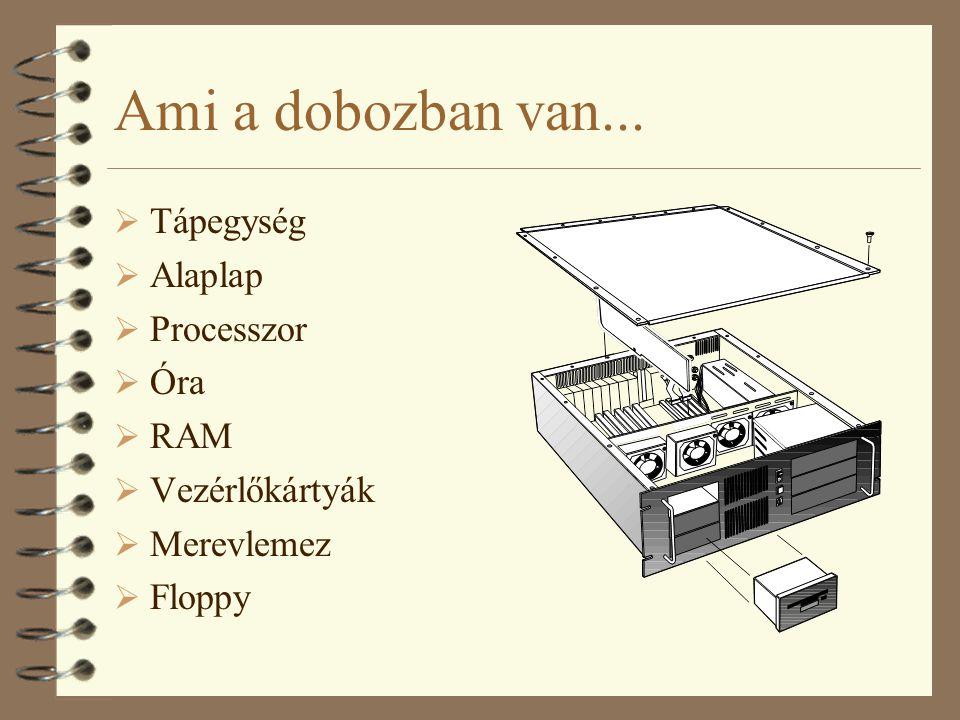 Ami a dobozban van...  Tápegység  Alaplap  Processzor  Óra  RAM  Vezérlőkártyák  Merevlemez  Floppy