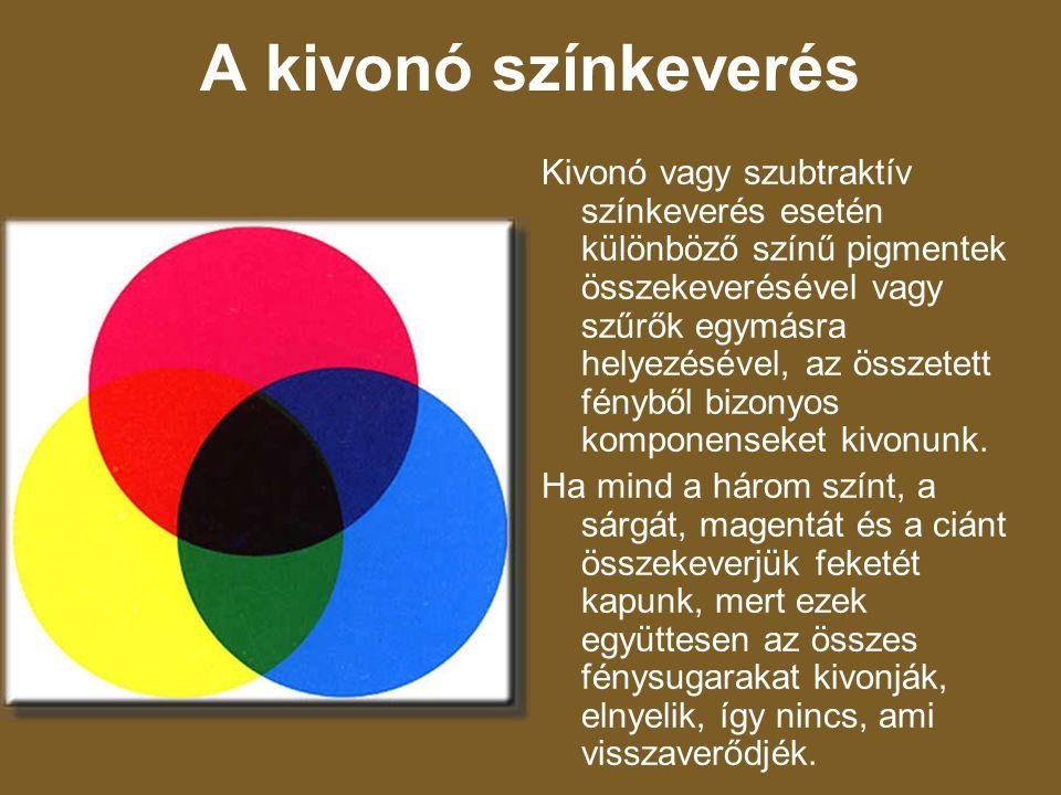 A kivonó színkeverés Kivonó vagy szubtraktív színkeverés esetén különböző színű pigmentek összekeverésével vagy szűrők egymásra helyezésével, az össze