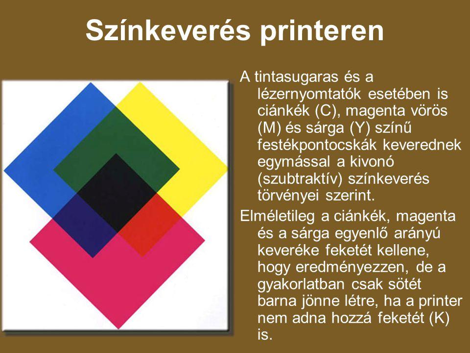 Színkeverés printeren A tintasugaras és a lézernyomtatók esetében is ciánkék (C), magenta vörös (M) és sárga (Y) színű festékpontocskák keverednek egy