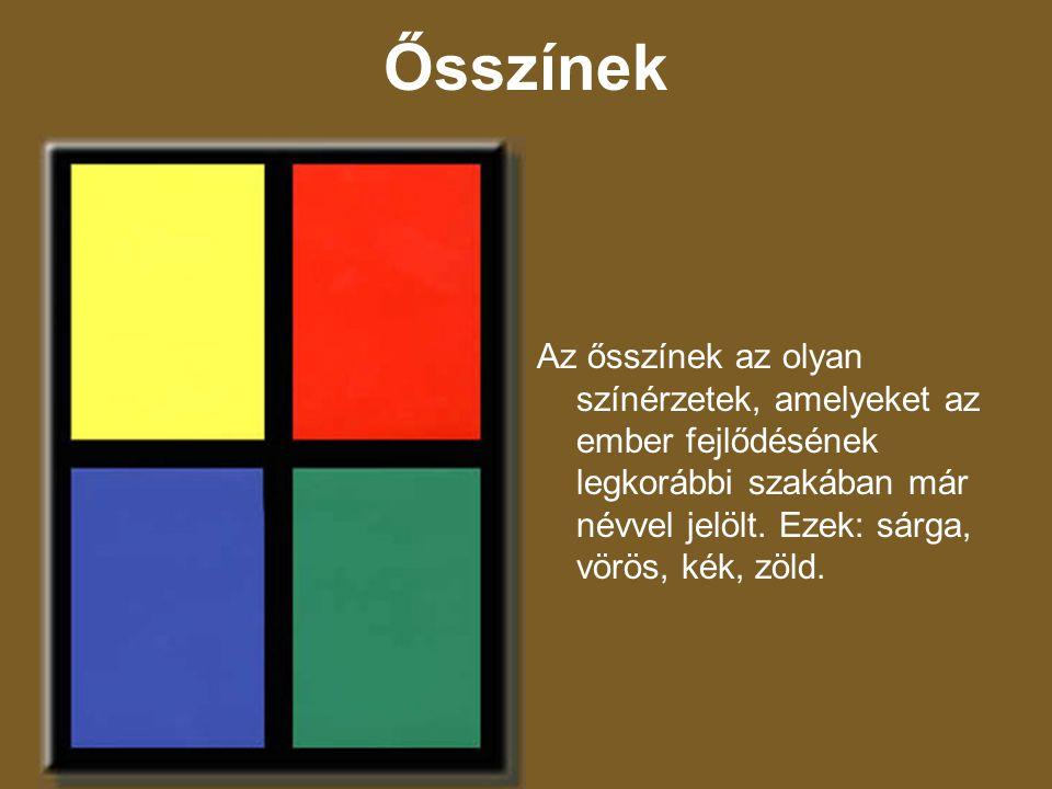 Ősszínek Az ősszínek az olyan színérzetek, amelyeket az ember fejlődésének legkorábbi szakában már névvel jelölt. Ezek: sárga, vörös, kék, zöld.