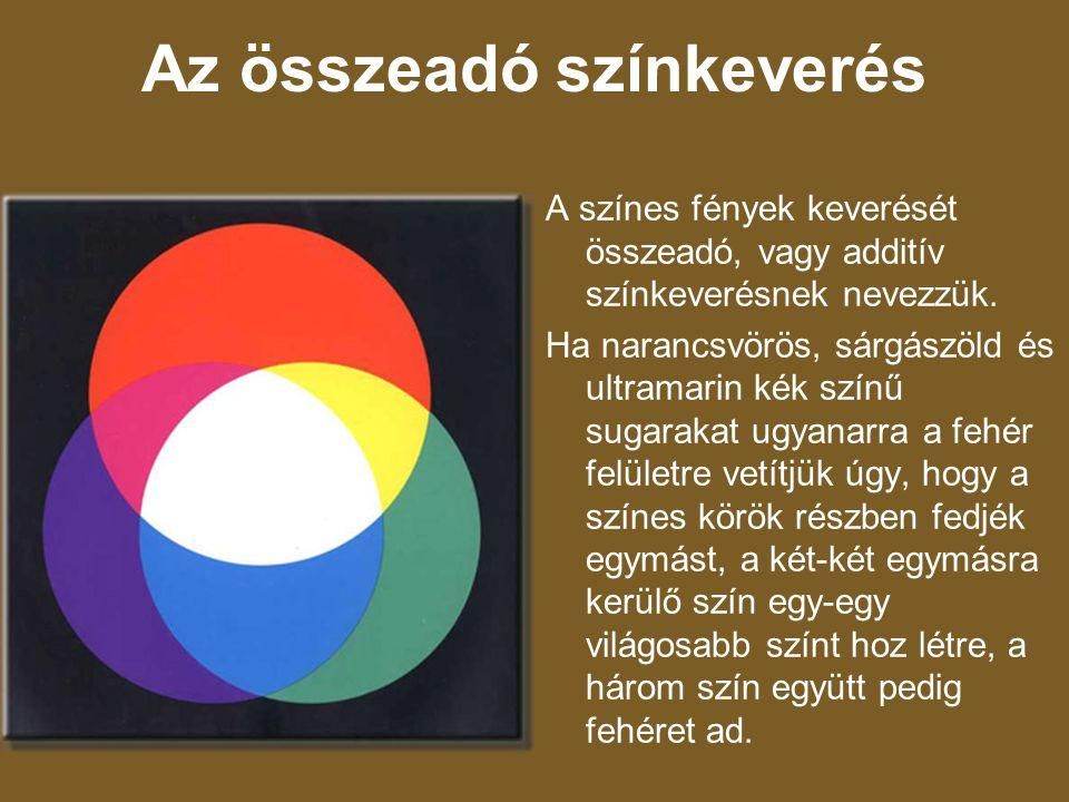 Az összeadó színkeverés A színes fények keverését összeadó, vagy additív színkeverésnek nevezzük. Ha narancsvörös, sárgászöld és ultramarin kék színű