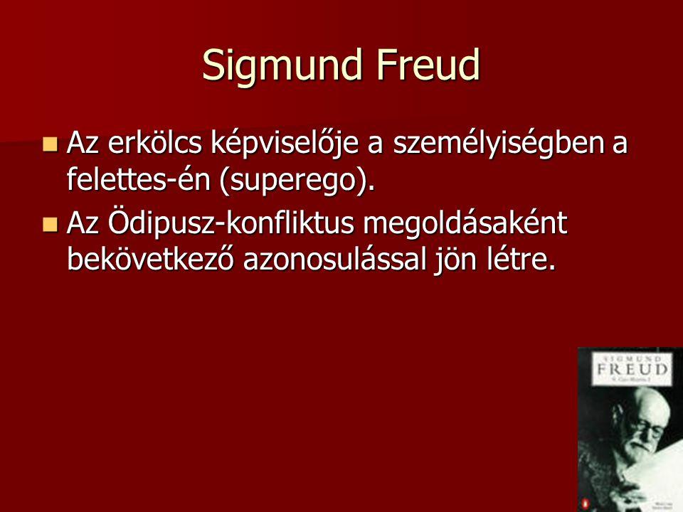 Sigmund Freud Az erkölcs képviselője a személyiségben a felettes-én (superego). Az erkölcs képviselője a személyiségben a felettes-én (superego). Az Ö