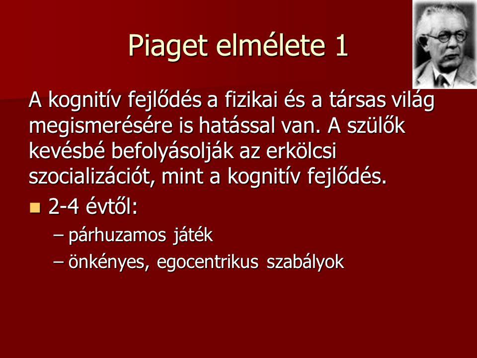 Piaget elmélete 1 A kognitív fejlődés a fizikai és a társas világ megismerésére is hatással van.
