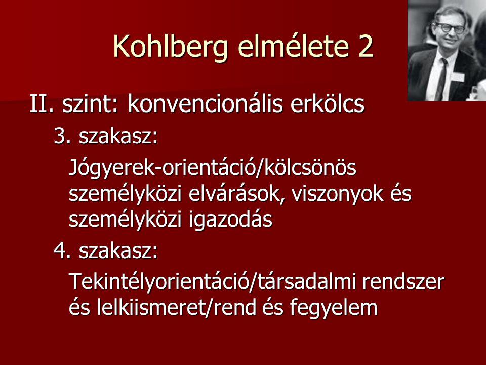 Kohlberg elmélete 2 II. szint: konvencionális erkölcs 3. szakasz: Jógyerek-orientáció/kölcsönös személyközi elvárások, viszonyok és személyközi igazod