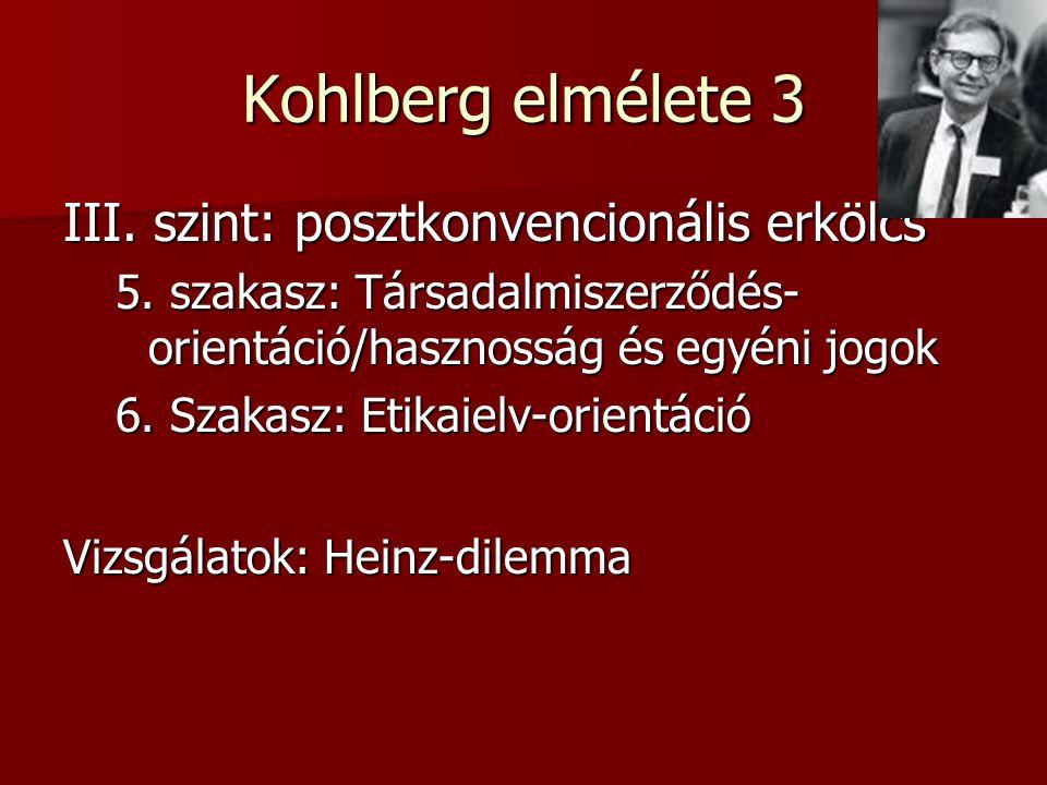 Kohlberg elmélete 3 III. szint: posztkonvencionális erkölcs 5. szakasz: Társadalmiszerződés- orientáció/hasznosság és egyéni jogok 6. Szakasz: Etikaie