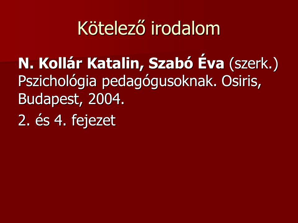 Kötelező irodalom N. Kollár Katalin, Szabó Éva (szerk.) Pszichológia pedagógusoknak. Osiris, Budapest, 2004. 2. és 4. fejezet