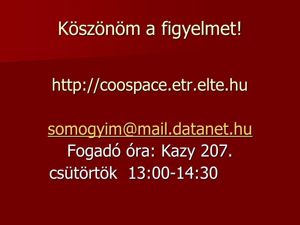 Köszönöm a figyelmet! http://coospace.etr.elte.hu somogyim@mail.datanet.hu Fogadó óra: Kazy 207. csütörtök 13:00-14:30 csütörtök 13:00-14:30