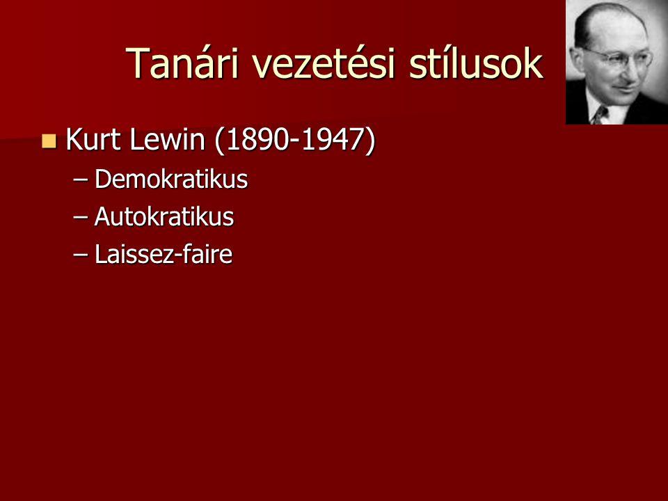 Tanári vezetési stílusok Kurt Lewin (1890-1947) Kurt Lewin (1890-1947) –Demokratikus –Autokratikus –Laissez-faire