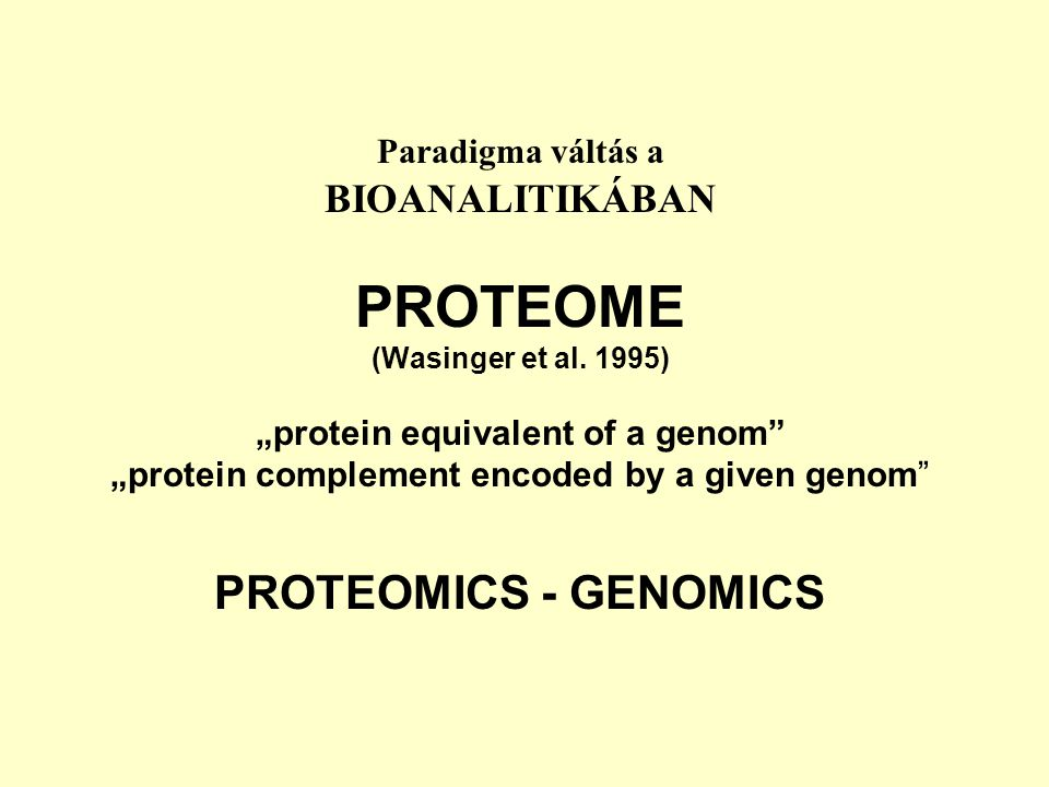 """Paradigma váltás a BIOANALITIKÁBAN PROTEOME (Wasinger et al. 1995) """"protein equivalent of a genom"""" """"protein complement encoded by a given genom"""" PROTE"""