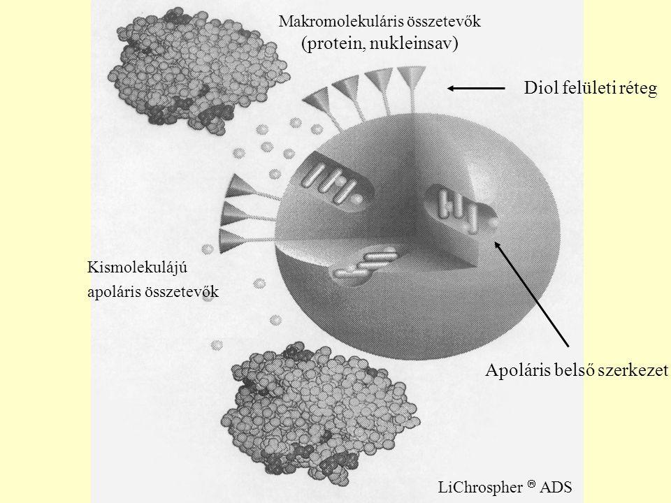 Kismolekulájú apoláris összetevők Makromolekuláris összetevők (protein, nukleinsav) LiChrospher  ADS Diol felületi réteg Apoláris belső szerkezet